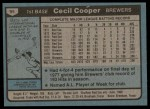 1980 Topps #95  Cecil Cooper  Back Thumbnail