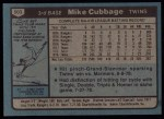 1980 Topps #503  Mike Cubbage  Back Thumbnail
