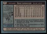 1980 Topps #124  Dave Lemanczyk  Back Thumbnail