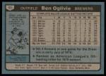 1980 Topps #53  Ben Oglivie  Back Thumbnail