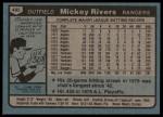 1980 Topps #485  Mickey Rivers  Back Thumbnail