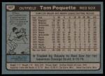 1980 Topps #597  Tom Poquette  Back Thumbnail