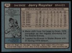 1980 Topps #463  Jerry Royster  Back Thumbnail