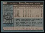 1980 Topps #176  Champ Summers  Back Thumbnail
