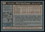1980 Topps #142  Phil Huffman   Back Thumbnail