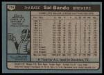 1980 Topps #715  Sal Bando  Back Thumbnail