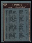 1980 Topps #328   -   Gene Mauch Twins Team and Checklist  Back Thumbnail