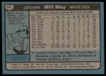 1980 Topps #647  Milt May  Back Thumbnail