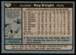 1980 Topps #174  Ray Knight  Back Thumbnail