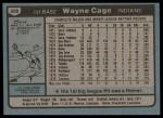 1980 Topps #208  Wayne Cage  Back Thumbnail