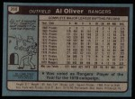 1980 Topps #260  Al Oliver  Back Thumbnail