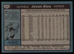 1980 Topps #593  Jesus Alou  Back Thumbnail