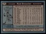 1980 Topps #366  Rob Dressler  Back Thumbnail