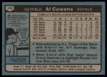 1980 Topps #330  Al Cowens  Back Thumbnail