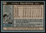 1980 Topps #550  Ken Griffey  Back Thumbnail