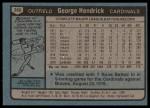 1980 Topps #350  George Hendrick  Back Thumbnail