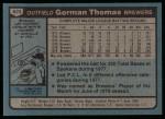 1980 Topps #623  Gorman Thomas  Back Thumbnail