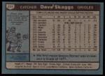 1980 Topps #211  Dave Skaggs    Back Thumbnail