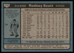 1980 Topps #712  Rodney Scott  Back Thumbnail