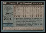 1980 Topps #72  Fred Howard    Back Thumbnail