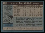 1980 Topps #713  Terry Whitfield  Back Thumbnail