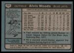 1980 Topps #444  Alvis Woods  Back Thumbnail