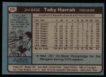 1980 Topps #636  Toby Harrah  Back Thumbnail