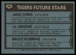 1980 Topps #666   -  Mike Chris / Al Greene / Bruce Robbins  Tigers Rookies Back Thumbnail