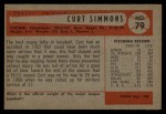 1954 Bowman #79  Curt Simmons  Back Thumbnail