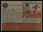 1962 Topps #111 A Dallas Green  Back Thumbnail