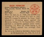 1950 Bowman #214 CPR Dick Fowler  Back Thumbnail