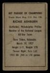 1952 Berk Ross  Richie Ashburn  Back Thumbnail