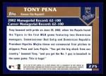 2003 Topps #275  Tony Pena  Back Thumbnail