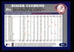 2003 Topps #61  Roger Clemens  Back Thumbnail