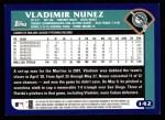 2003 Topps #142  Vladimir Nunez  Back Thumbnail