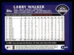 2003 Topps #140  Larry Walker  Back Thumbnail
