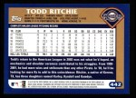 2003 Topps #442  Todd Ritchie  Back Thumbnail