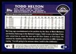 2003 Topps #20  Todd Helton  Back Thumbnail