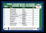 2003 Topps #345   NL HR Leaders Back Thumbnail