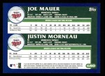 2003 Topps #680  Joe Mauer / Justin Morneau  Back Thumbnail