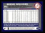 2003 Topps #120  Bernie Williams  Back Thumbnail