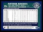2003 Topps #520  Arthur Rhodes  Back Thumbnail