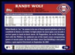 2003 Topps #76  Randy Wolf  Back Thumbnail