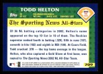 2003 Topps #709   -  Todd Helton All-Star Back Thumbnail