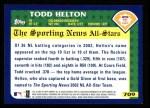2003 Topps #709   -  Todd Helton All-Star Back Thumbnail