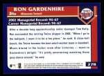2003 Topps #278  Ron Gardenhire  Back Thumbnail