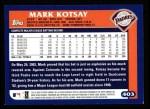 2003 Topps #403  Mark Kotsay  Back Thumbnail