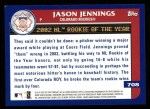 2003 Topps #708   -  Jason Jennings Award Winners Back Thumbnail