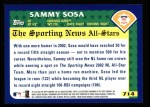 2003 Topps #714   -  Sammy Sosa All-Star Back Thumbnail
