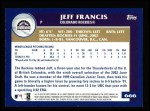 2003 Topps #666  Jeff Francis  Back Thumbnail